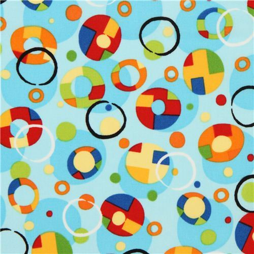 light blue dots and circles fabric by Robert Kaufman
