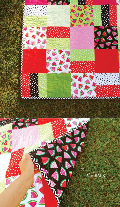 A super cute cummer quilt with Ann Kelles watermelon fabric (photo from Ann Kelles blog)