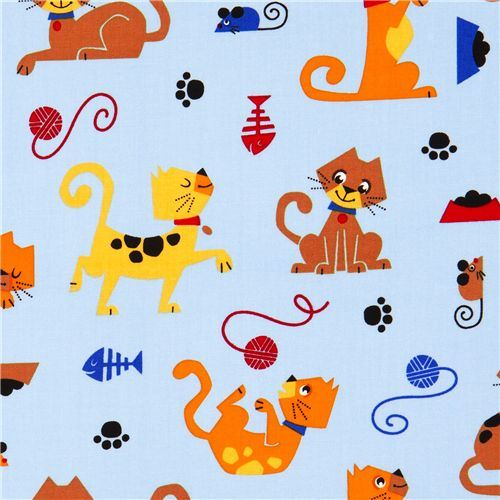 blue cat fabric with mouse fish wool by Robert Kaufman