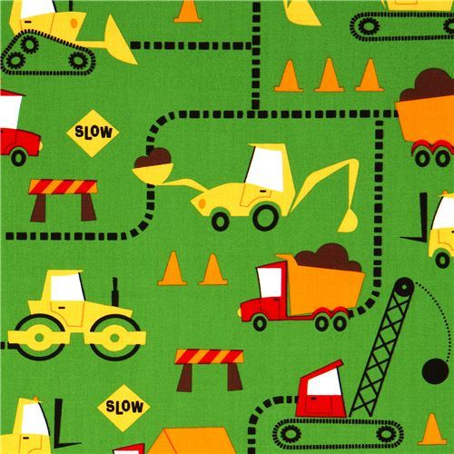 green excavator fabric construction site by Robert Kaufman
