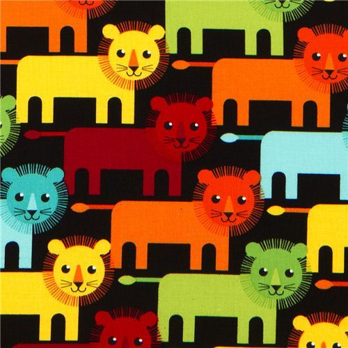 black fabric with funny lions by Robert Kaufman