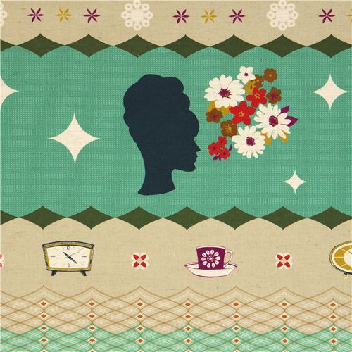 green Kokka retro fabric with clocks woman head Japan