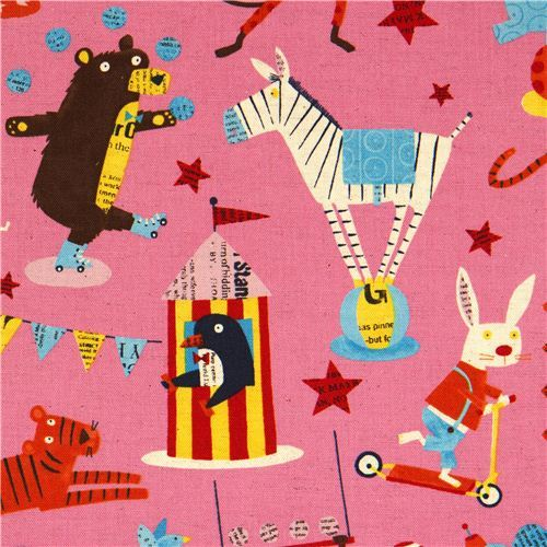 pale pink canvas fabric circus animal Nancy Wolff Kokka
