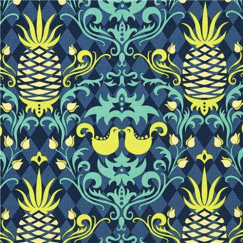 Michael Miller fabric pineapple bird green Patty Young