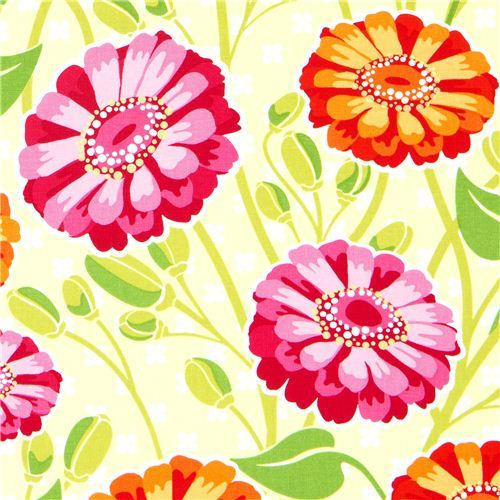 Michael Miller fabric with big flowers green PattyYoung