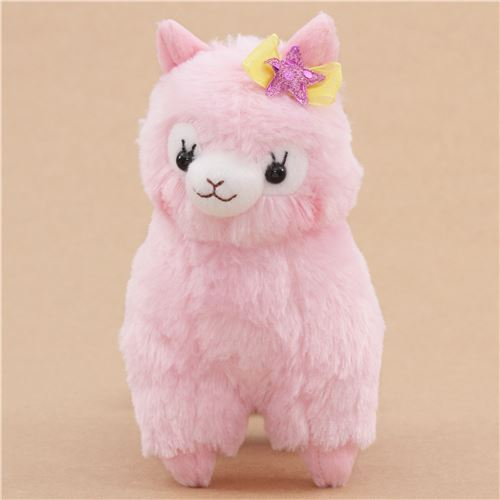 cute pink alpaca yellow bow purple star plush toy from Japan