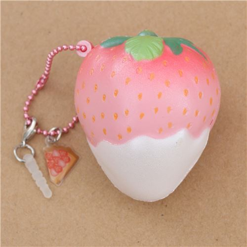 light pink Mini Cheeki Strawberry Pearl white sauce scented squishy by Puni Maru