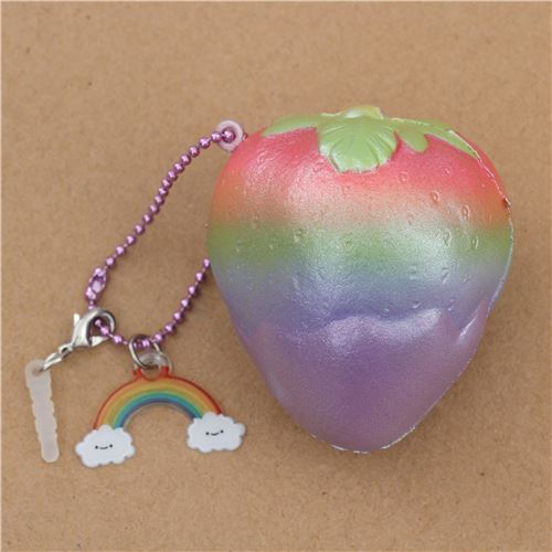 rainbow Mini Cheeki Strawberry Pearl purple sauce scented squishy by Puni Maru