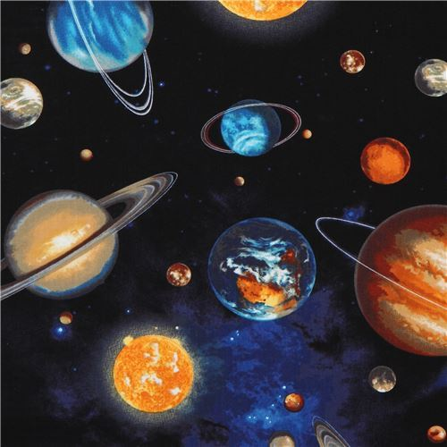 black Robert Kaufman planet outer space fabric Stargazers