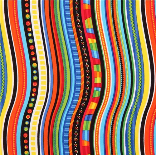 colorful wave line striped Timeless Treasures Crazy Stripe fabric USA