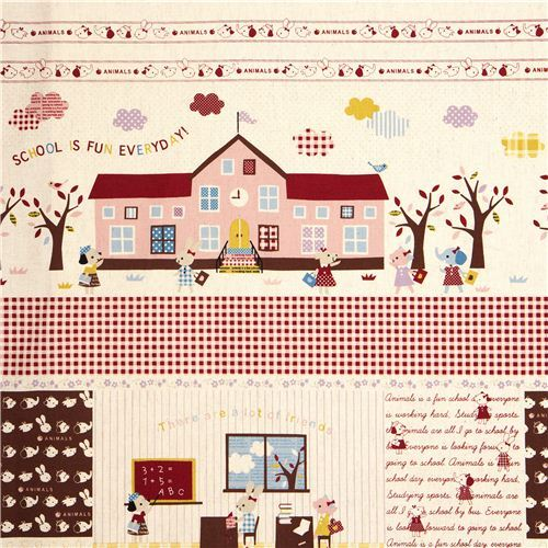 canvas children fabric school elephant rabbit dog Kokka
