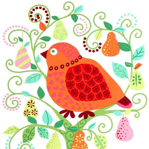 Christmas fabric bird pear tree ball by Michael Miller