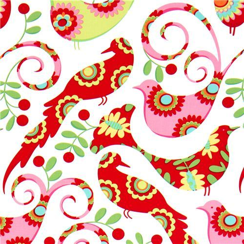 white Michael Miller Christmas fabric with birds