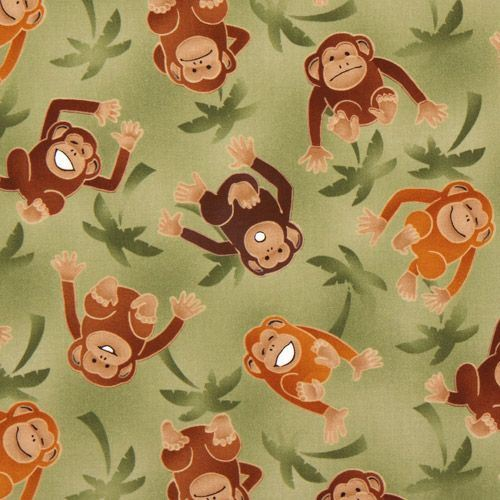 green monkeys fabric with palm trees Robert Kaufman