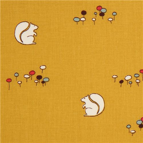 mustard yellow squirrel organic fabric by birch from the USA