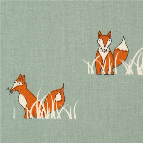 sea green fox organic fabric by birch from the USA