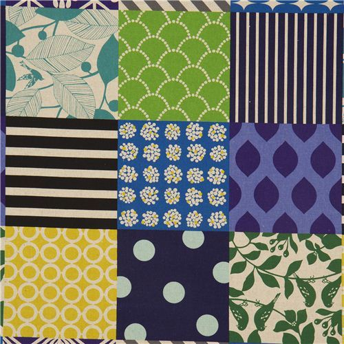 Patchwork piece echino canvas fabric blue-green-black