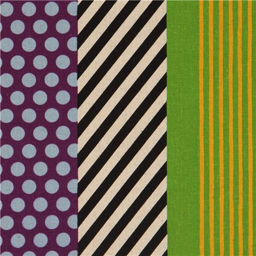 echino poplin stripes fabric kikka purple-black-green