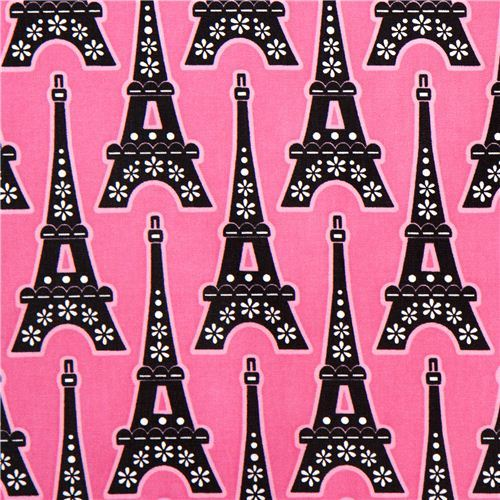 pink Eiffel tower laminate designer fabric from the USA