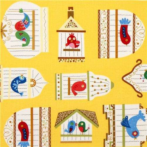 yellow bird cage designer fabric from the USA