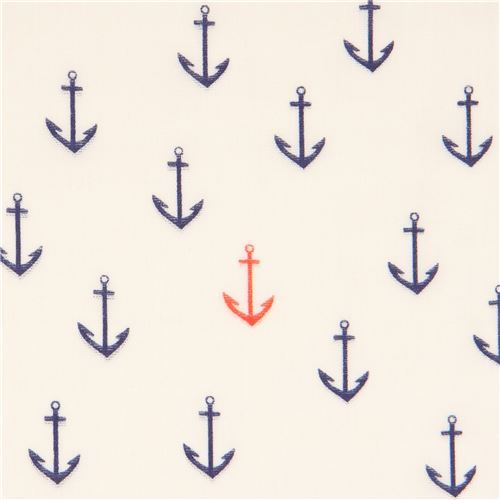 light cream navy blue orange anchor birch Double Gauze organic fabric USA