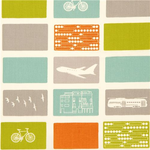 white birch organic fabric with airplane bike tram