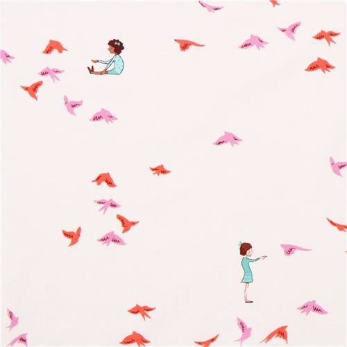 children and bird fabric Michael Miller With The Birds