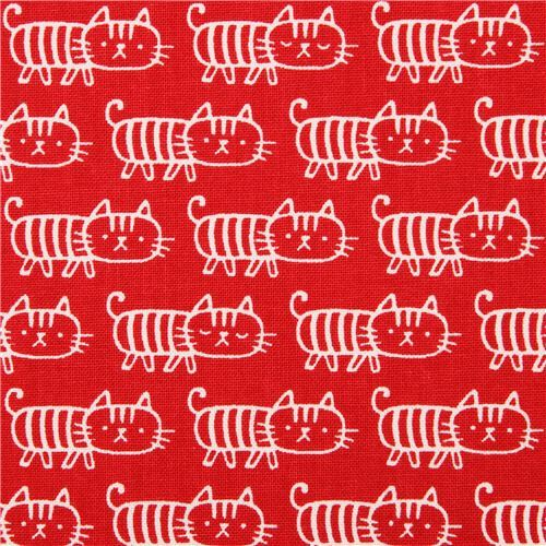 red cat Canvas fabric Kokka Japan