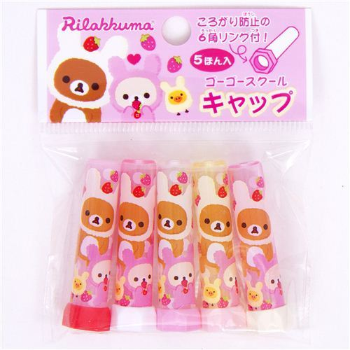 Rilakkuma bear as bunny pencil cap strawberry