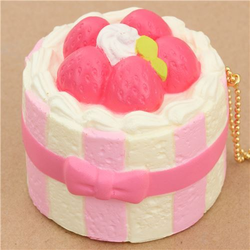 Premium Cafe de N light cream color pink charlotte cake squishy charm kawaii