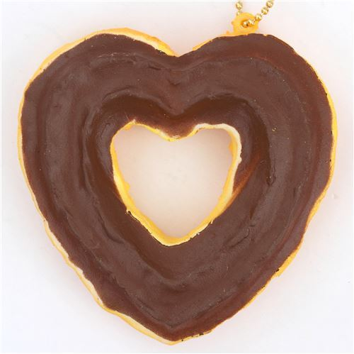 cute brown sauce heart shape churro squishy charm kawaii
