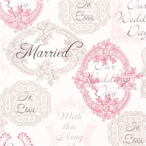 Michael Miller fabric Mr. & Mrs. wedding flowers