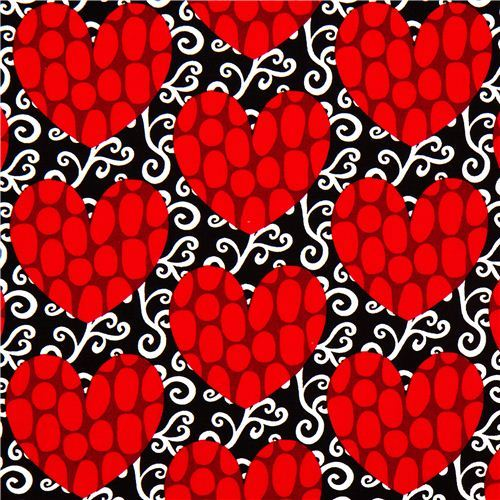 black fabric with red hearts by Robert Kaufman