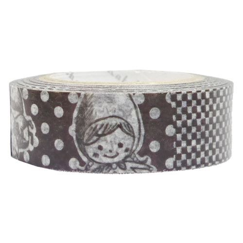 black white cute wolf dot flower Washi Masking Tape deco tape Shinzi Katoh
