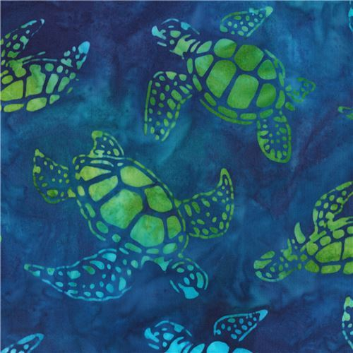 blue Robert Kaufman turtle animal tie dye Batik look fabric Totally Tropical