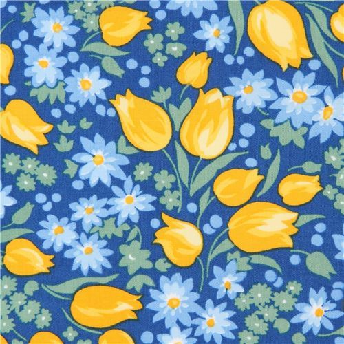 dark blue Robert Kaufman fabric flower leaf Sunshine Garden