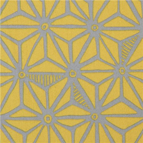 green-brown Robert Kaufman fabric grey star shape Psychedelia