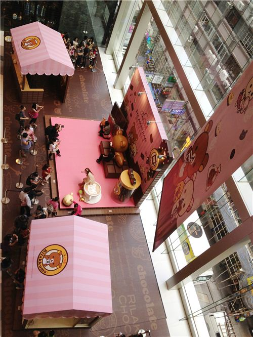 The exhibition are from above - even the floor has a Rilakkuma design