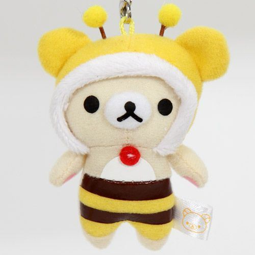 Rilakkuma plush cellphone charm white bear bee