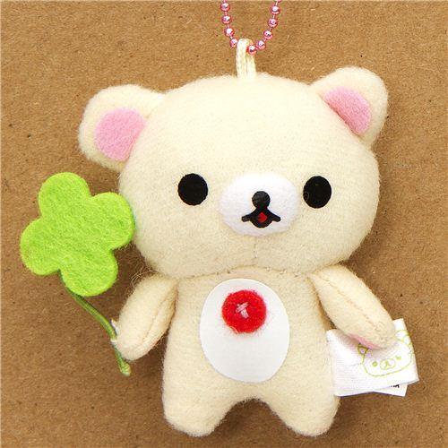 San-X Rilakkuma plush charm white bear cloverleaf