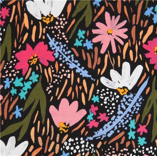 black with colorful flower Cloud 9 organic cotton fabric Gather