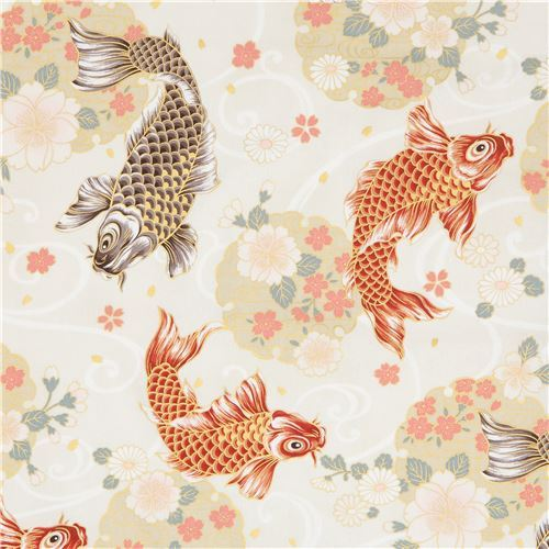 cream with fish animal flower gold metallic embellishment fabric from Japan