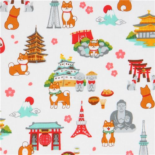 white fabric with shiba inu dog landmark from Japan