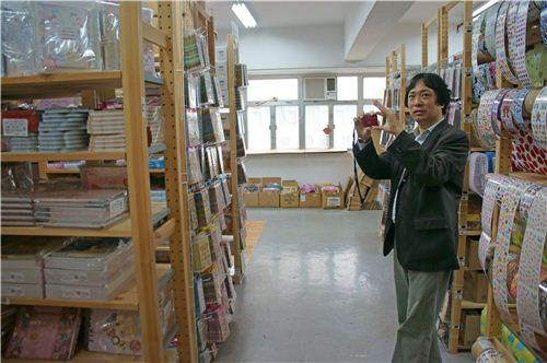 Shigeo from San-X takes picture of our warehouse