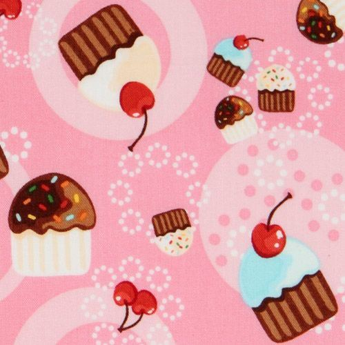 pink cupcakes fabric cherry Robert Kaufman kawaii