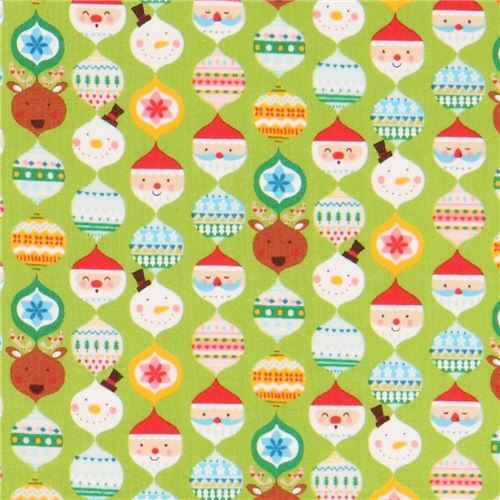 lime green cute colorful santa reindeer Christmas decoration fabric from Japan