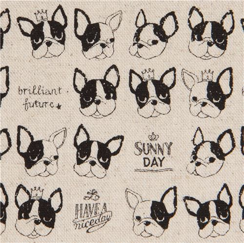 French bulldog natural color canvas fabric by Kokka
