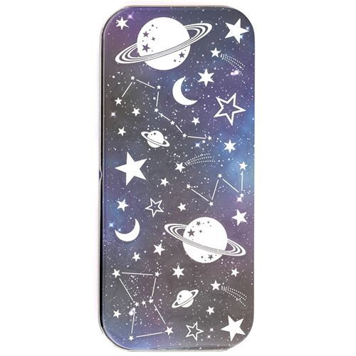 beautiful space themed pencil case tin case with sticker from Japan
