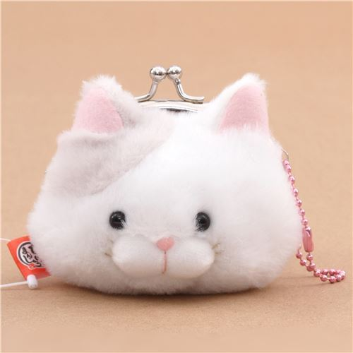 soft funny white light grey cat plush Manjyu purse wallet from Japan