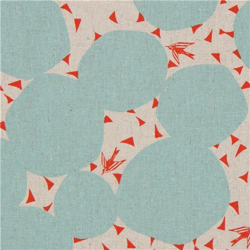 natural color echino canvas fabric with light turquoise circle shape Bubble
